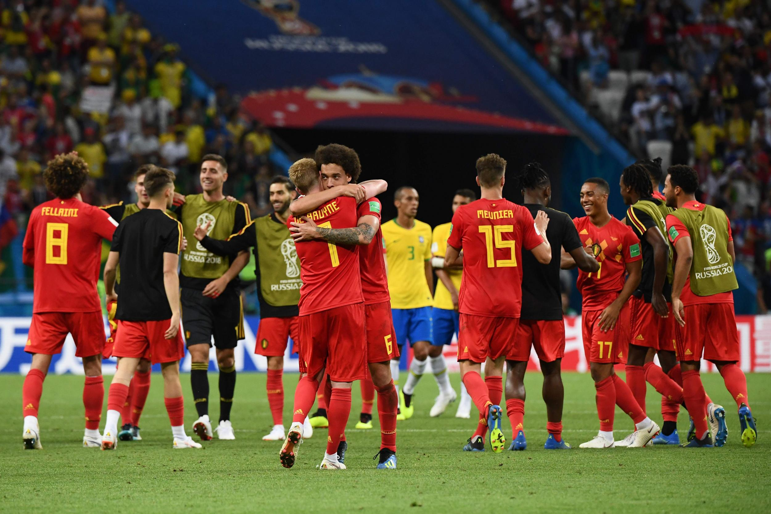 Image result for Belgium advance to World Cup semifinals, Brazil out - Belgians to face France in semifinals after beating Brazil 2-1